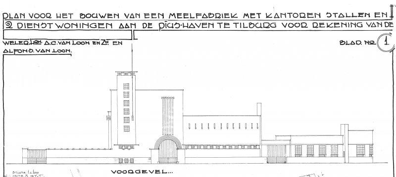 Tekening Piushaven 1 Tilburg 1935