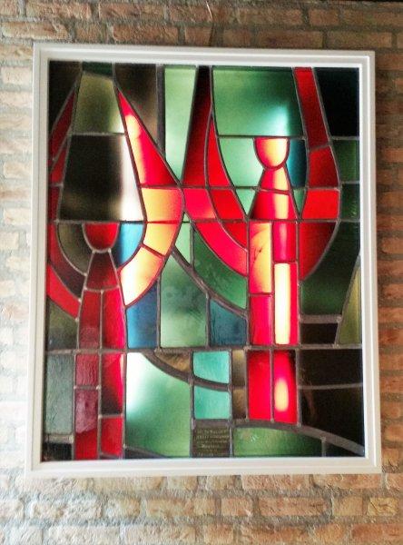 Gedeelte glas in betonwand Jan Dijker, nu in de Lucaskerk in Tilburg