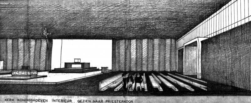 Tekening interieur Lourdeskerk Tilburg
