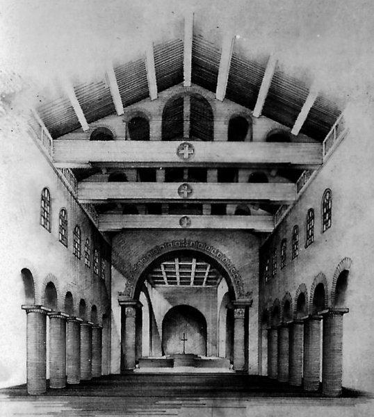 Tekening interieur Sint Martinuskerk Velddriel