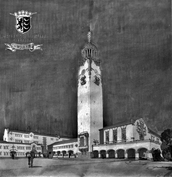 Tekening prijsvraag stadhuis Eindhoven 1939. Foto C.Schijvens